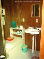 Inside composting toilet and sink