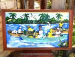 Folk painting of Garifuna coming ashore in small boats